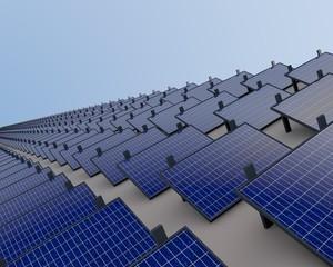 Duurzame energie - veld vol zonnepanelen