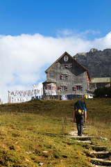 Falkenhütte im Karwendel in den Alpen