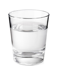 Transparent glass with clean mineral water isolated on white bac