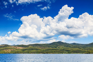 Beautiful mediterranean landscape with clouds.