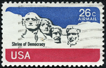 stamp printed in USA shows national memorial. Stone Sculptures