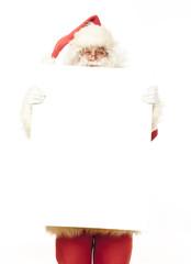 Weihnachtsmann zeigt mobiles Telefon in die Kamera