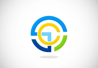 abstract round connection initial vector logo