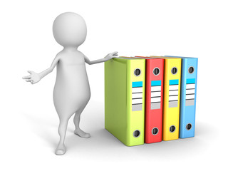 white 3d man with colorful office ring binders