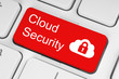 Cloud computing security concept on red button