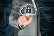 Businessman pushing virtual cloud security button