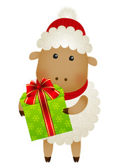 Funny sheep with gift box