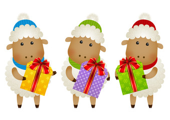 Funny sheep with gift boxes