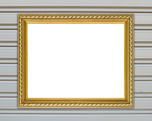 golden frame on metal wall background