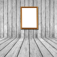 White wood perspective background with frame photo in room inter