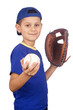 Young boy holding ball and mitt isolated on white background