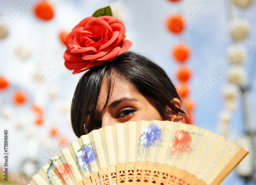 Andalusian women at the Fair, spanish woman - 71884640