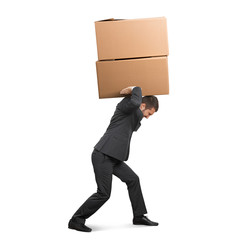 tired businessman carrying boxes