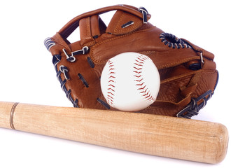 Baseball, mitt and bat isolated on white background