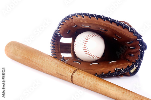 canvas print picture Baseball, mitt and bat isolated on white background