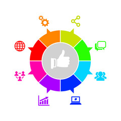 Modern Ring Diagram with Seo Icons Set