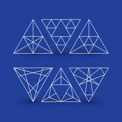 Set of geometric patterns, triangles, line design