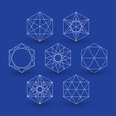 Set of geometric patterns, hexagons, line design, design element