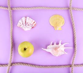 Sea souvenirs on purple background