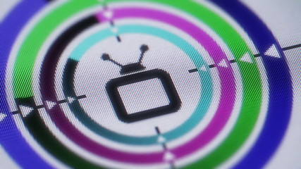 TV icon on the screen. Looping.