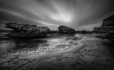 Tempestuous Coalcliff Seascape in black and white