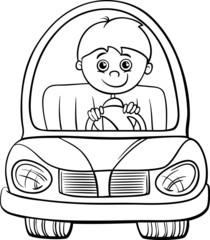 boy in car cartoon coloring page