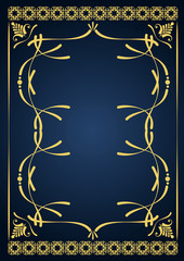 Gold ornament on blue background. Can be used as invitation card