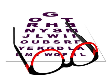 Glasses for reading with table for eye exams.  Vector illustrati