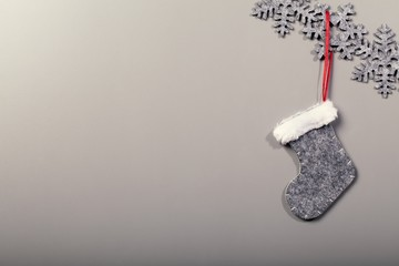 Christmas sock hanging on clean background