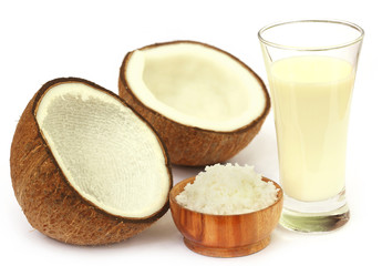 Fresh Coconut with milk in a glass