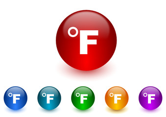 fahrenheit colorful vector icons set
