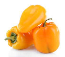 Yellow peppers isolated on white