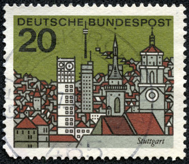 stamp printed in Germany shows graphic of Stuttgart