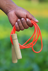 Skipping rope in hand