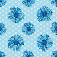 Seamless cornflowers pattern with polka dot background