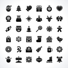 Christmas icons vector set decorations objects
