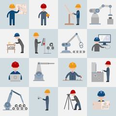 Engineering icons flat