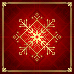 Christmas snowflake art deco style holidays greeting card