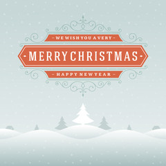 Christmas landscape retro typography and ornament decoration.