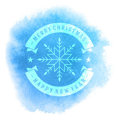 Christmas retro snowflake greeting card and vintage background.