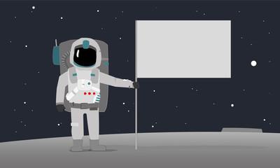 An Astronaut With Flag