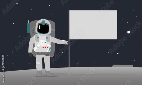 An Astronaut With Flag