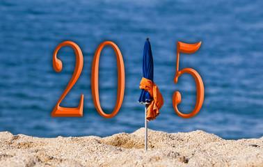 2015, beach umbrella sea background