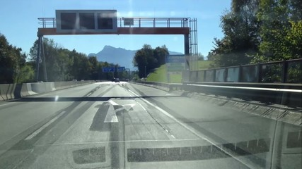 Driving on the highway from Vienna to Salzburg