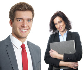 young businessman with secretary