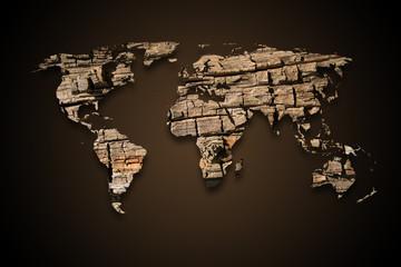 Landkarte *** Weltkarte Holz