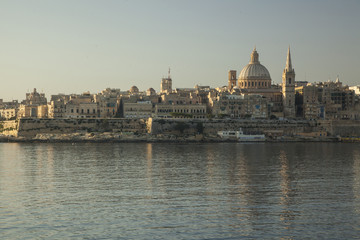 Malta Valetta view in the morning throw the gulf