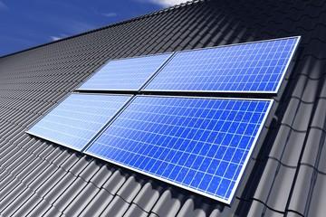 Zonnepanelen op zwart pannen dak