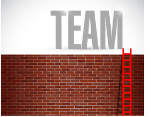 wall and team ladder illustration