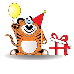 Toy Tiger Celebrating its Birthday